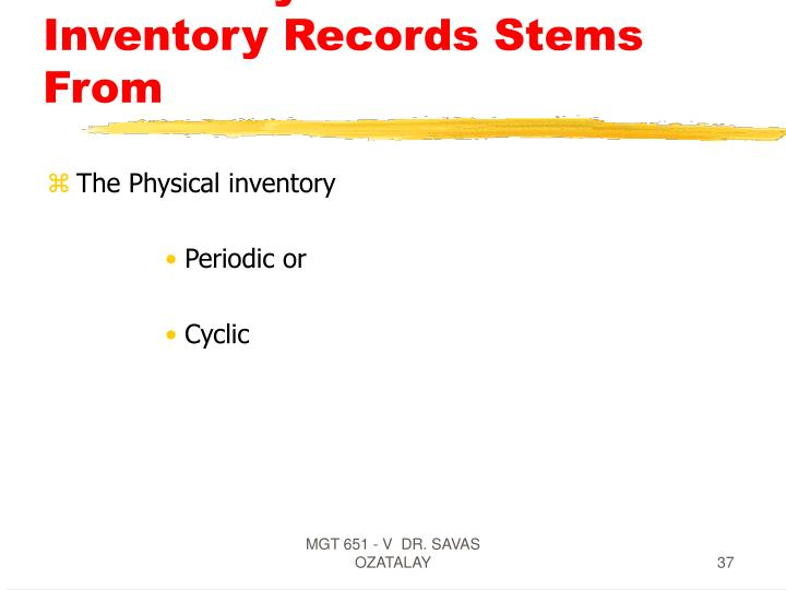 The Ability To Audit Inventory Records Stems From