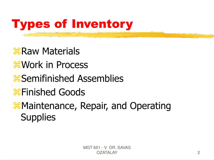 Types of inventory