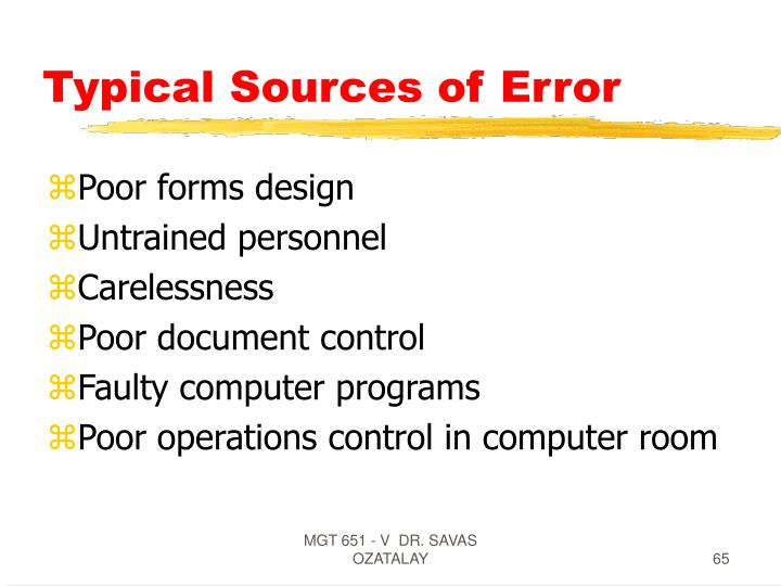 Typical Sources of Error