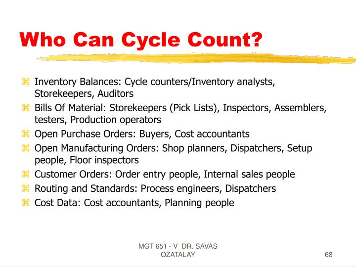 Who Can Cycle Count?