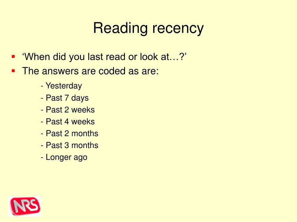 Reading recency