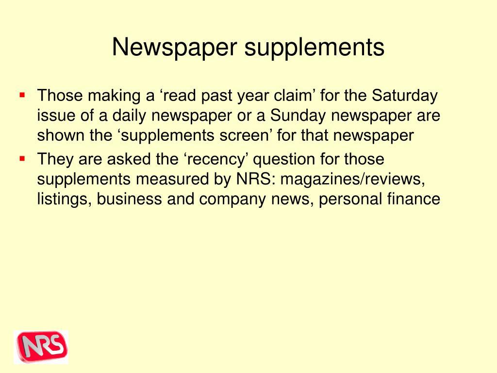 Newspaper supplements