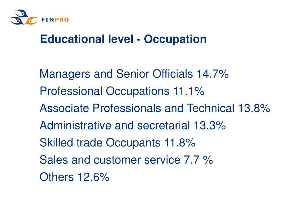 Educational level - Occupation