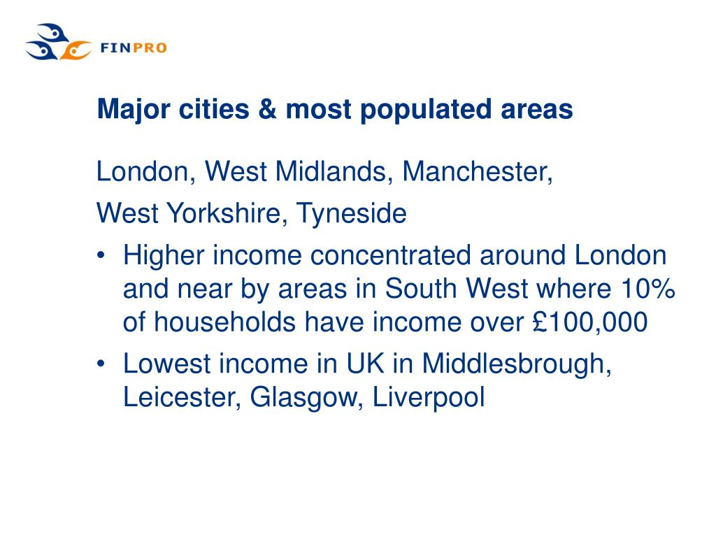 Major cities & most populated areas