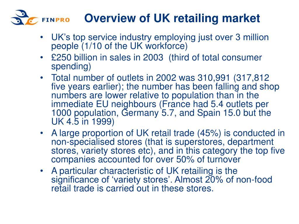 Overview of UK retailing market