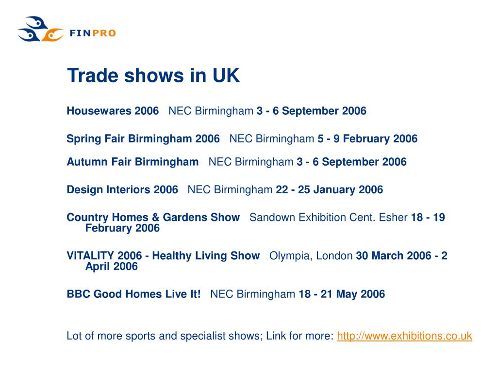 Trade shows in UK