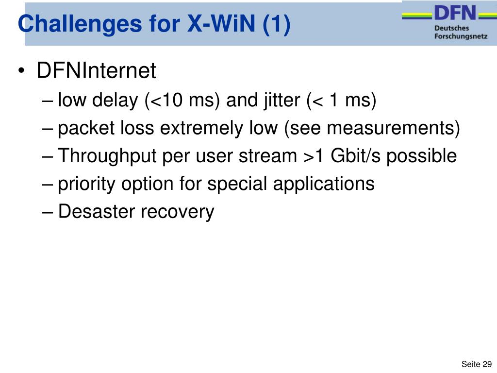 Challenges for X-WiN (1)