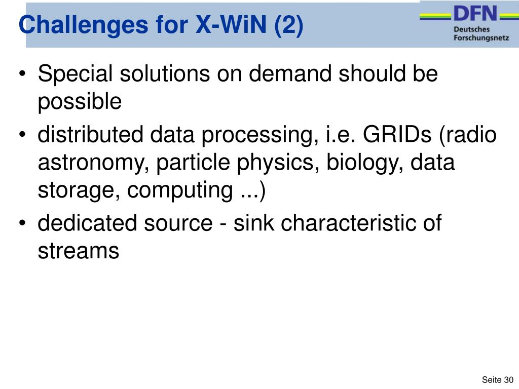 Challenges for X-WiN (2)