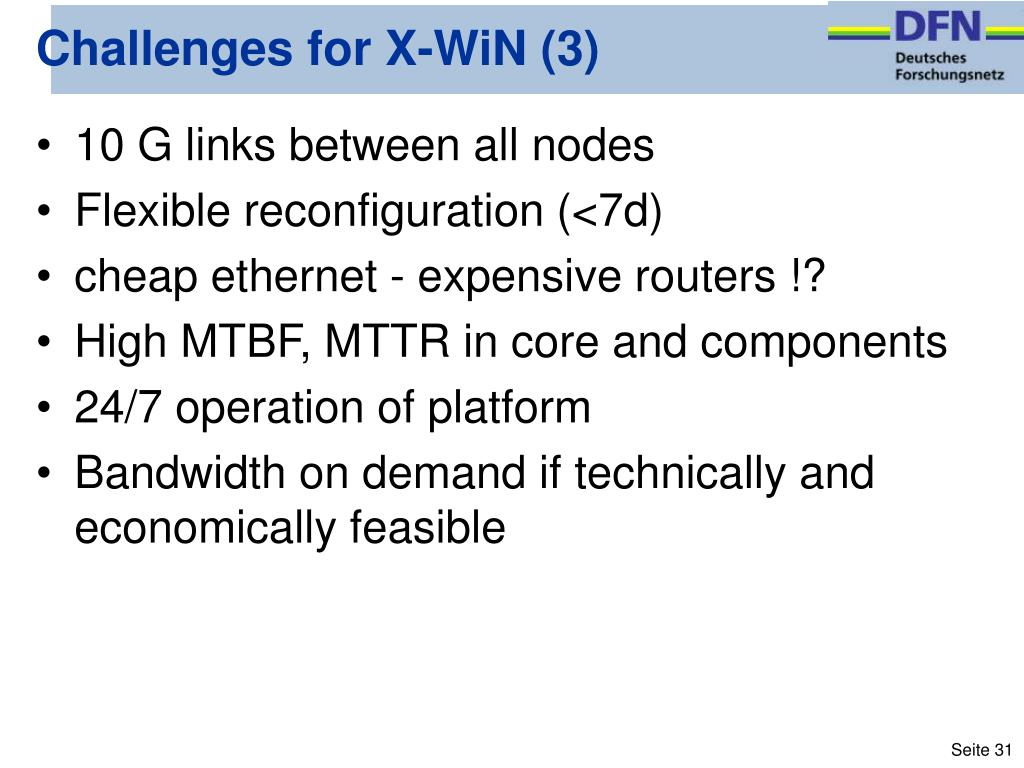 Challenges for X-WiN (3)