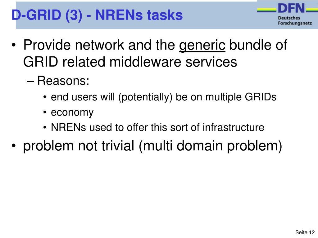 D-GRID (3) - NRENs tasks
