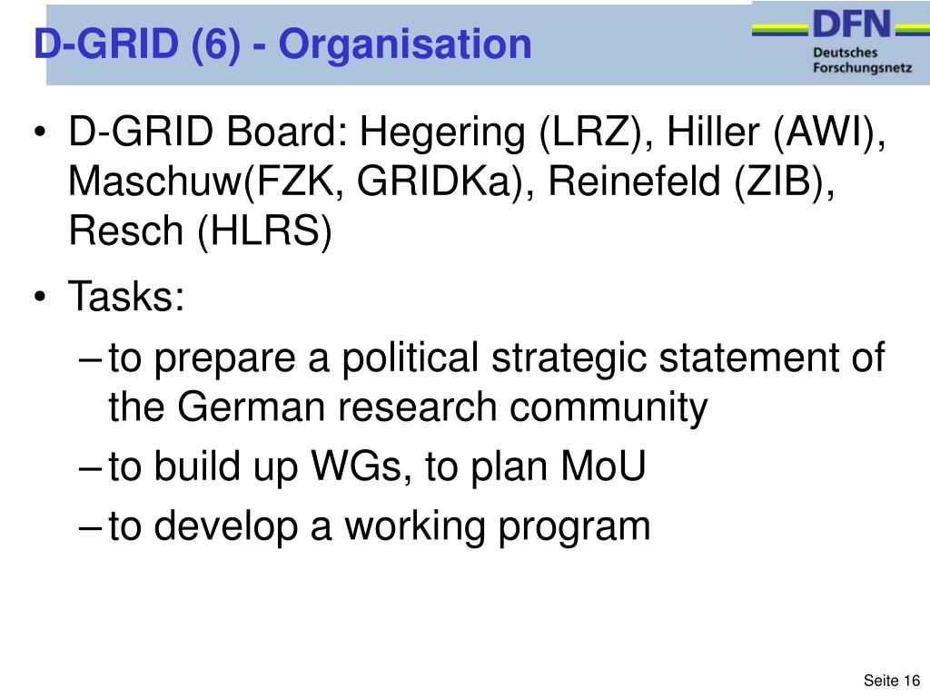 D-GRID (6) - Organisation