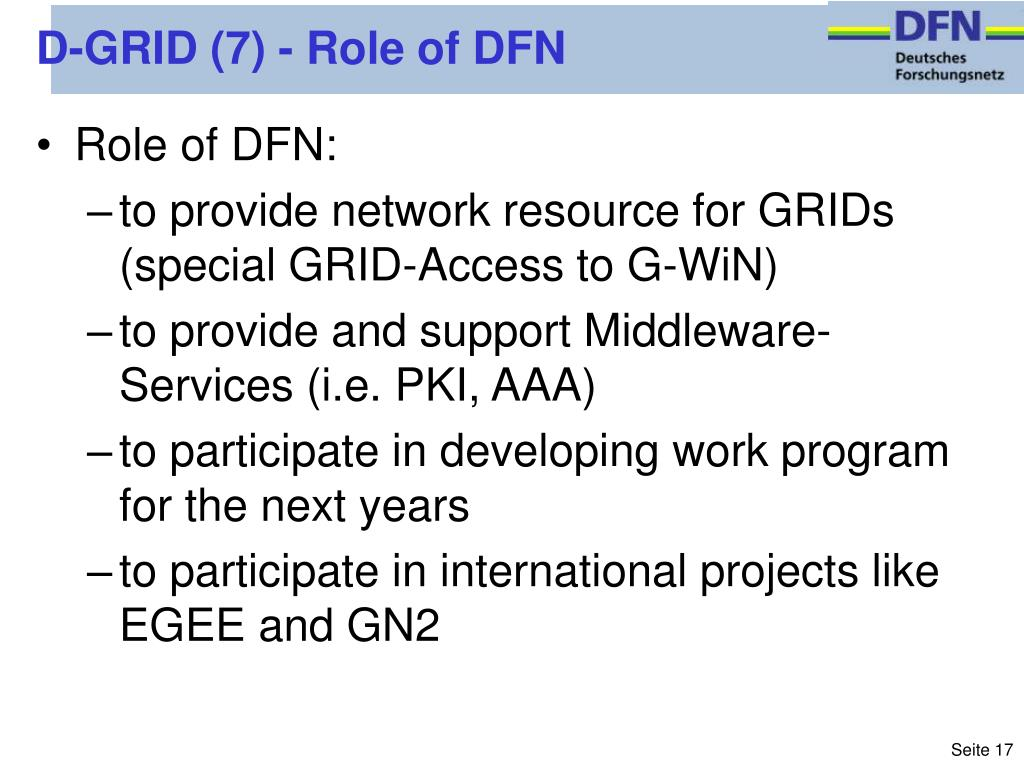 D-GRID (7) - Role of DFN