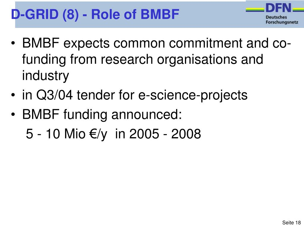 D-GRID (8) - Role of BMBF