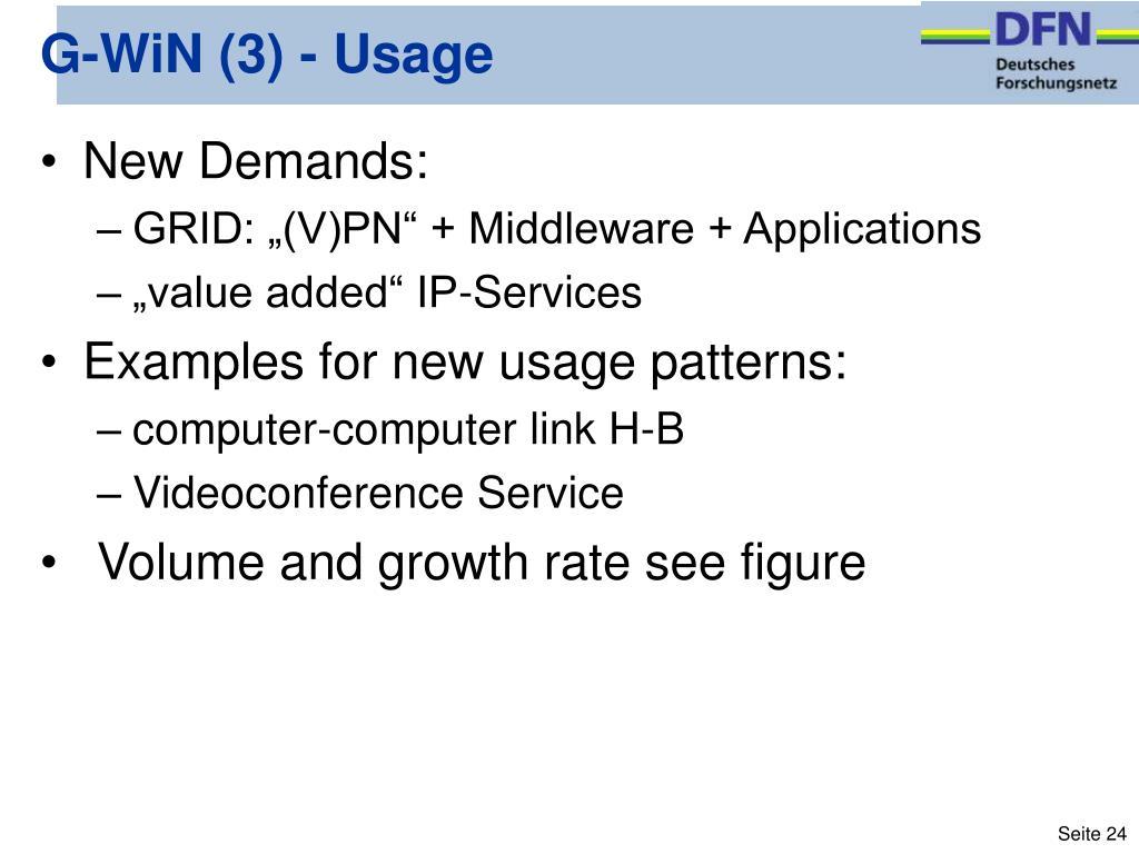 G-WiN (3) - Usage