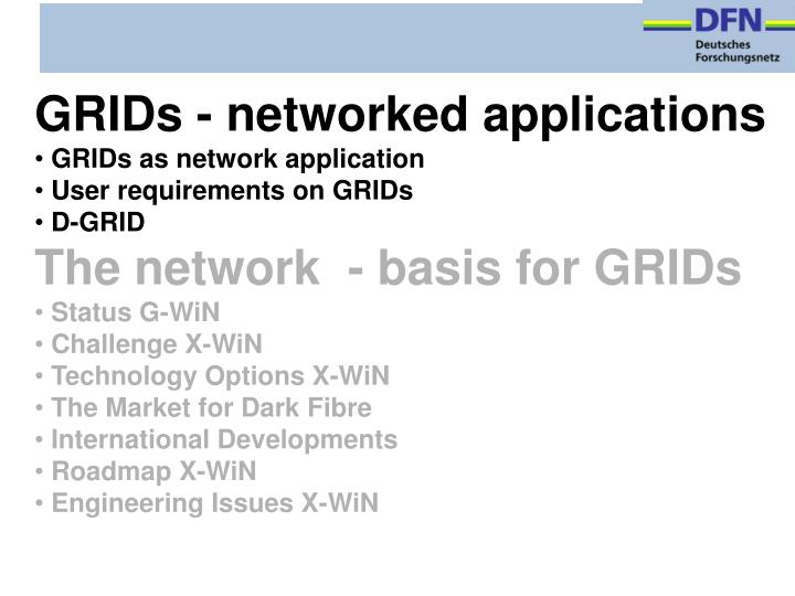 GRIDs - networked applications