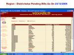 region districtwise pending bills as on 23 12 2005