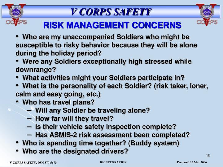 RISK MANAGEMENT CONCERNS