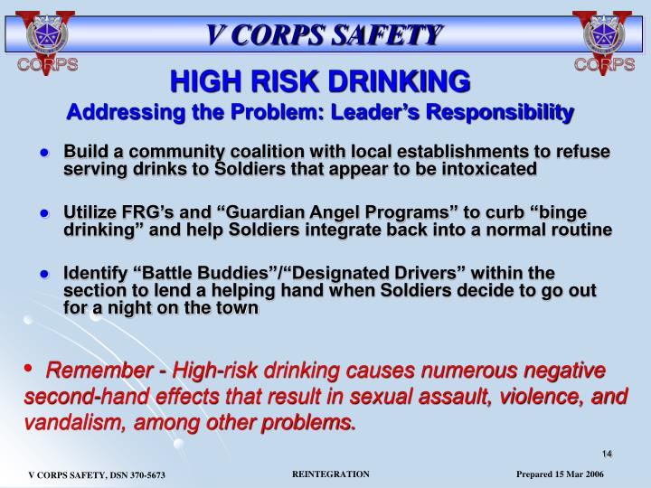 Build a community coalition with local establishments to refuse serving drinks to Soldiers that appear to be intoxicated