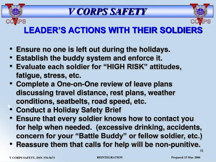 LEADER'S ACTIONS WITH THEIR SOLDIERS