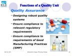 functions of a quality unit53