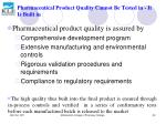 pharmaceutical product quality cannot be tested in it is built in