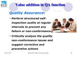 value addition in qa function