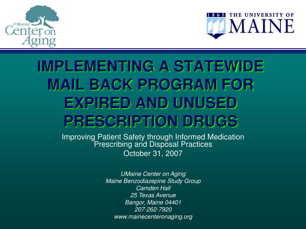 implementing a statewide mail back program for expired and unused prescription drugs l.