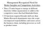 management recognized need for better insights on competitors activities