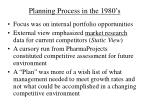 planning process in the 1980 s
