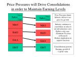 price pressures will drive consolidations in order to maintain earning levels