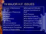 19 major h f issues