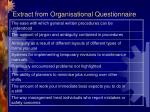 extract from organisational questionnaire