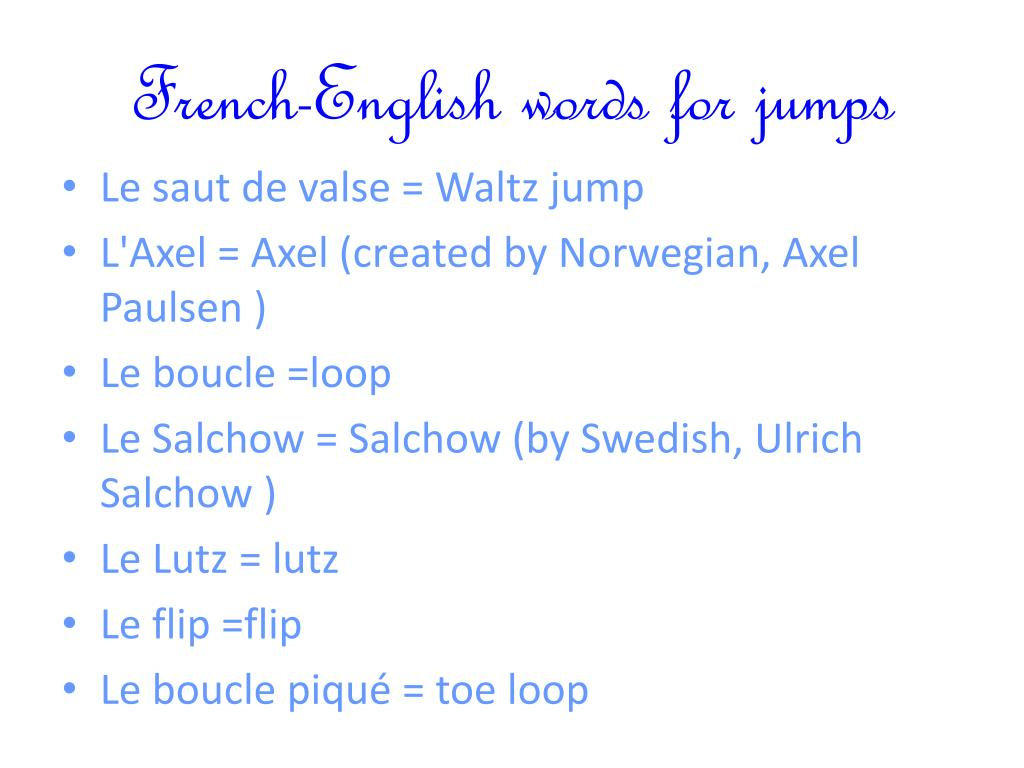 French-English words for jumps
