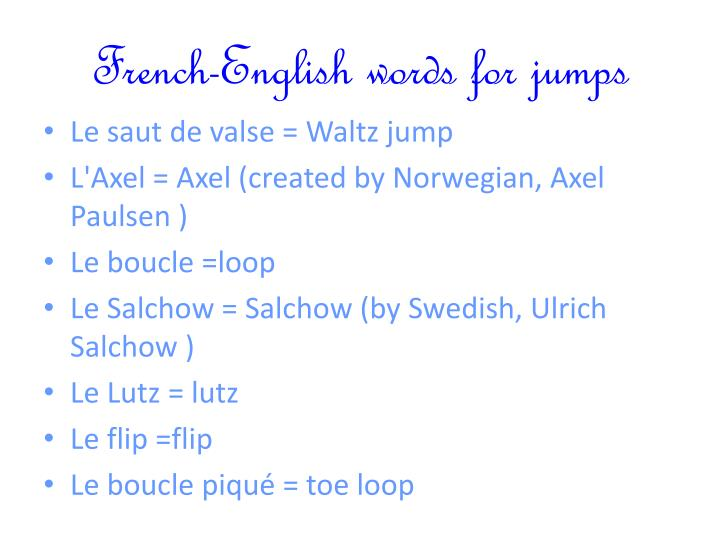 French english words for jumps