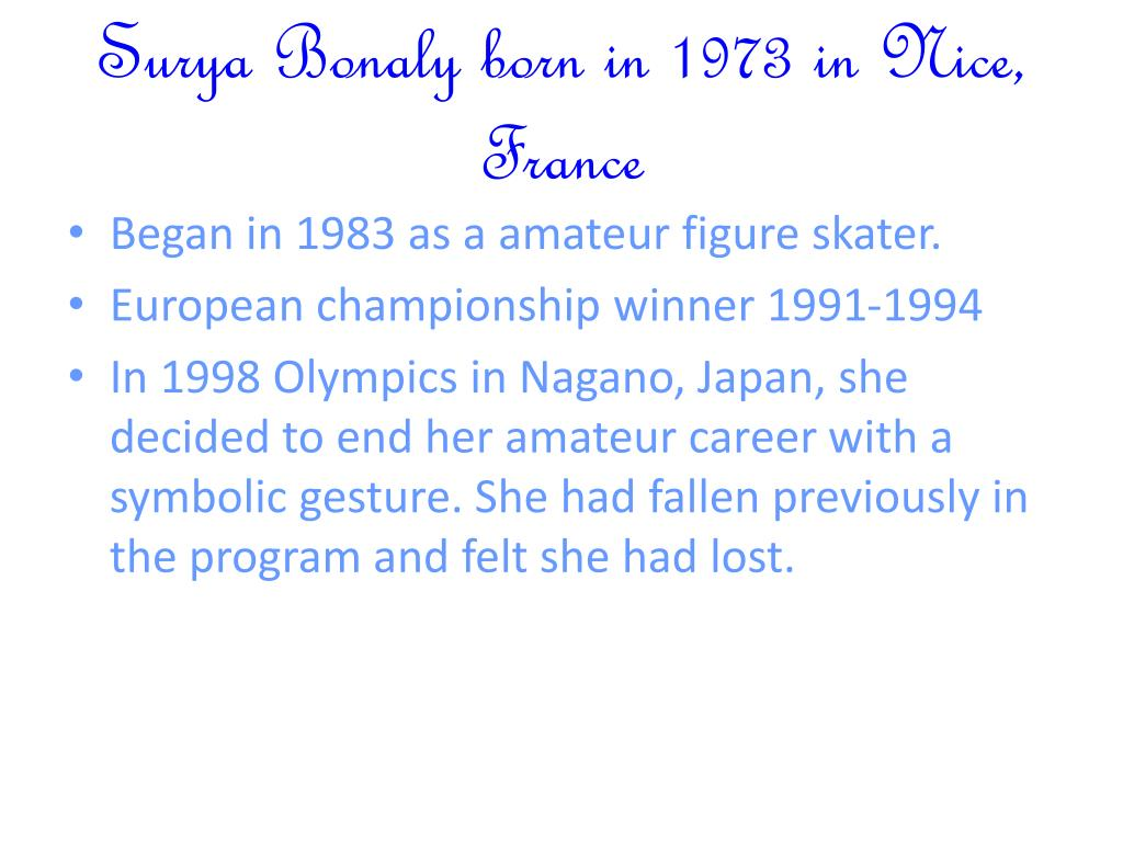 Surya Bonaly born in 1973 in Nice, France