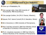 background of joe mahoney