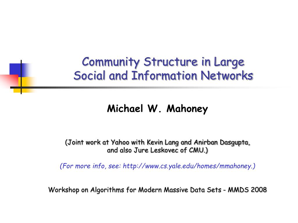 community structure in large social and information networks l.