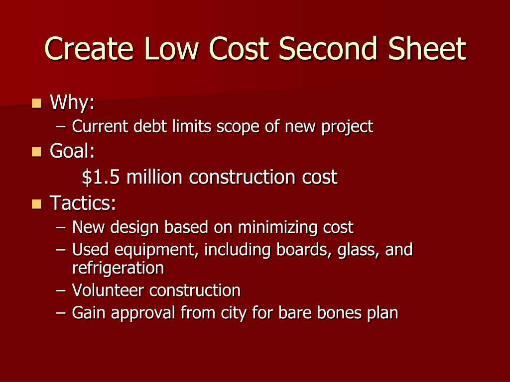Create Low Cost Second Sheet