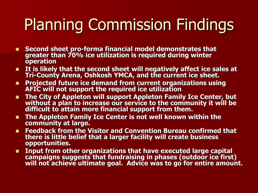 Planning Commission Findings