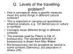 q levels of the travelling problem