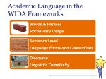 academic language in the wida frameworks