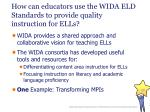 how can educators use the wida eld standards to provide quality instruction for ells