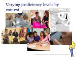 varying proficiency levels by context