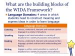 what are the building blocks of the wida framework20