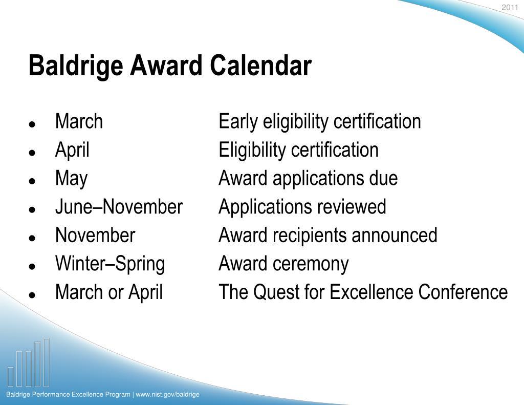Baldrige Award Calendar