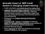 desirable impact of mqf credit system in managing student learning