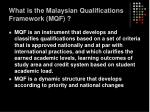 what is the malaysian qualifications framework mqf