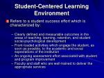 student centered learning environment