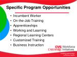 specific program opportunities