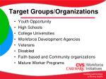 target groups organizations